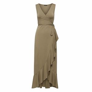 Banana Republic Soft Ponte Ruffle Wrap Maxi Dress,